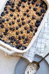Final baked blueberry oatmeal after coming out of the oven