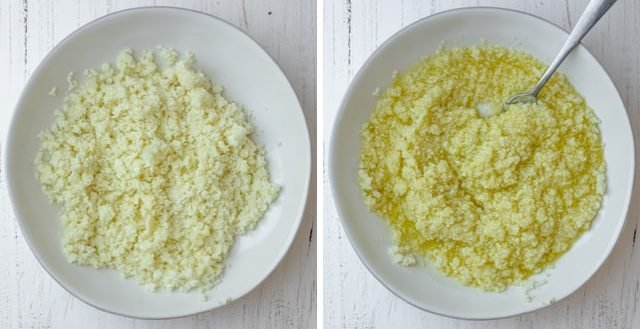 Collage of the cauliflower rice before and after adding the dressing