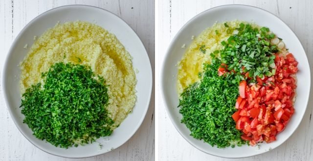 Collage of cauliflower rice with the addition of the vegetables and herbs