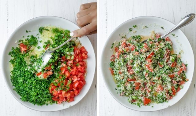 Collage of the salad before and after mixing