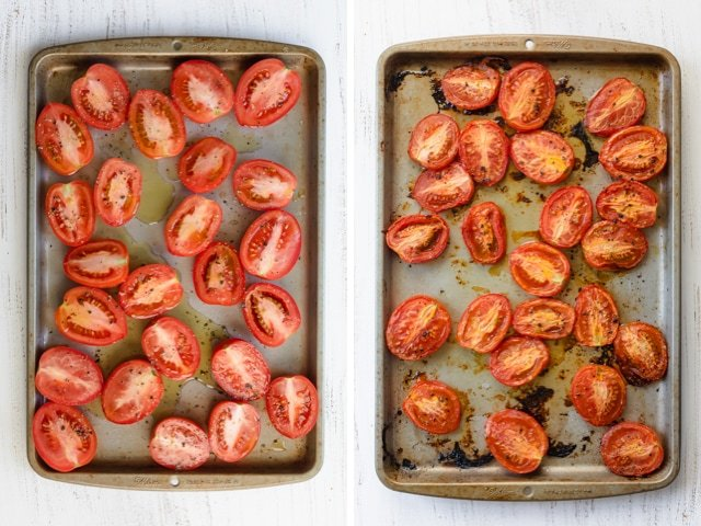 Process shots of the sliced tomatoes before an after roasting