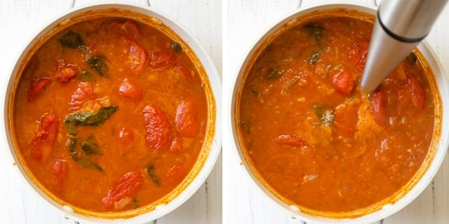Process shots of the pot of soup before and after blending