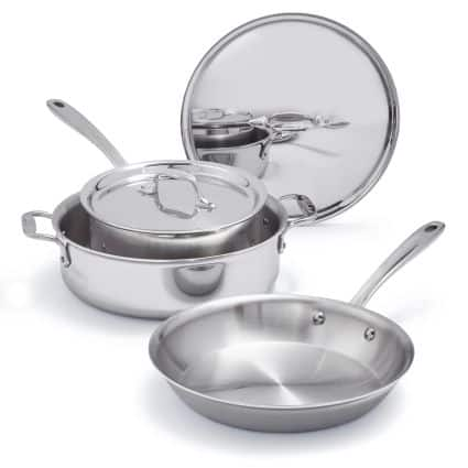 All-Clad 401599 Stainless Steel Tri-Ply Bonded Dishwasher Safe Cookware Set, 5-Piece