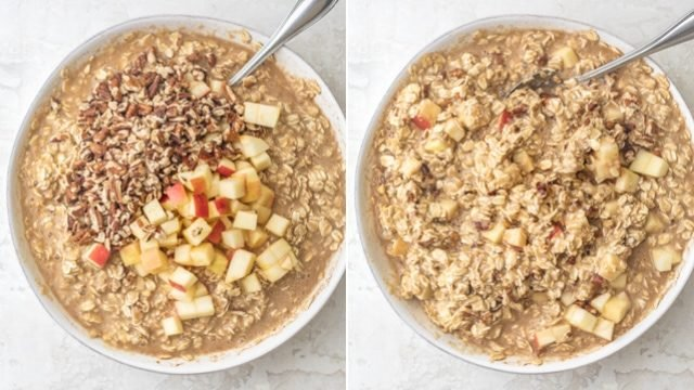 Collage of two images with the oatmeal mixture, then adding apples and pecans