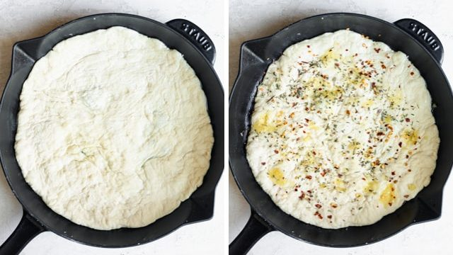 Collage showing the pizza dough going in the pan and getting seasoned