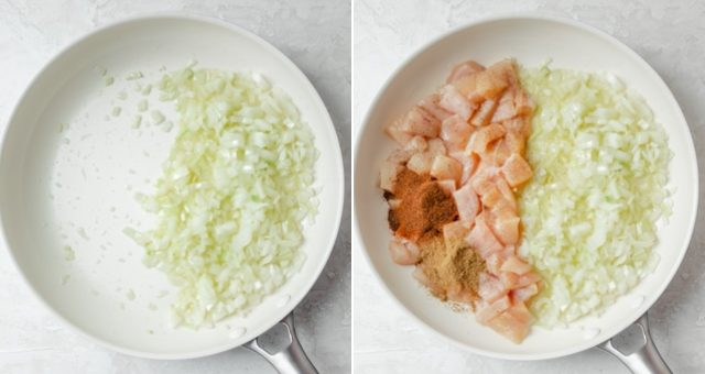 Collage of two images showing the onions getting sauteed, then the chicken, garlic and spices getting added