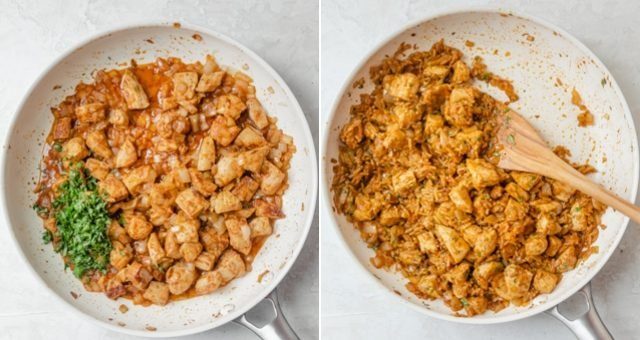 Collage of two images showing the chicken, onions and spices cookied, then the cilantro and rice added