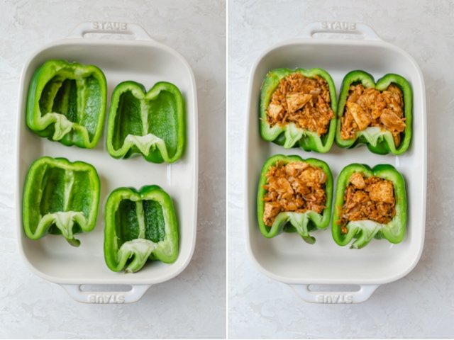 Collage of two images showing the peppers hallowed out, and then stuffed with the rice mixture
