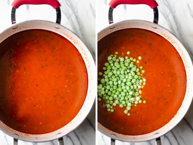 Process shots showing the tomato sauce getting cooked, then peas added