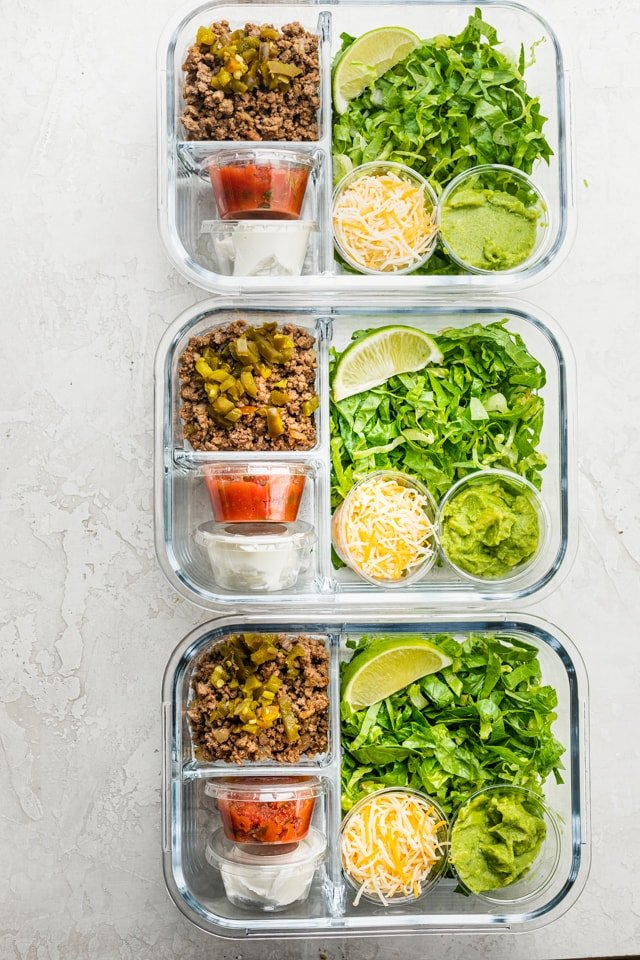 Taco salad meal prep containers