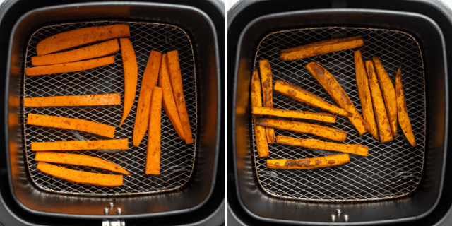 Showing the sweet potato fries in air fryer before and after cooking