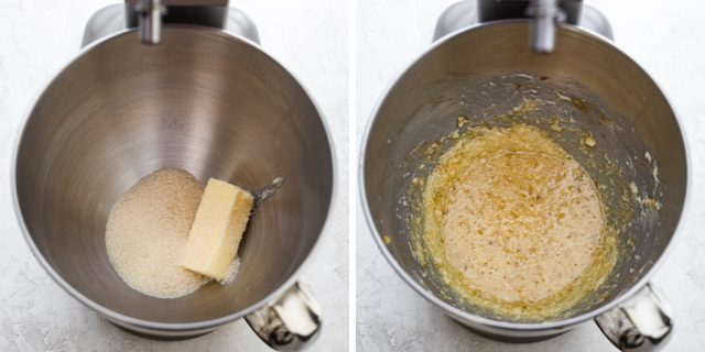 Process shots of the butter and sugar getting creamed in stand mixer