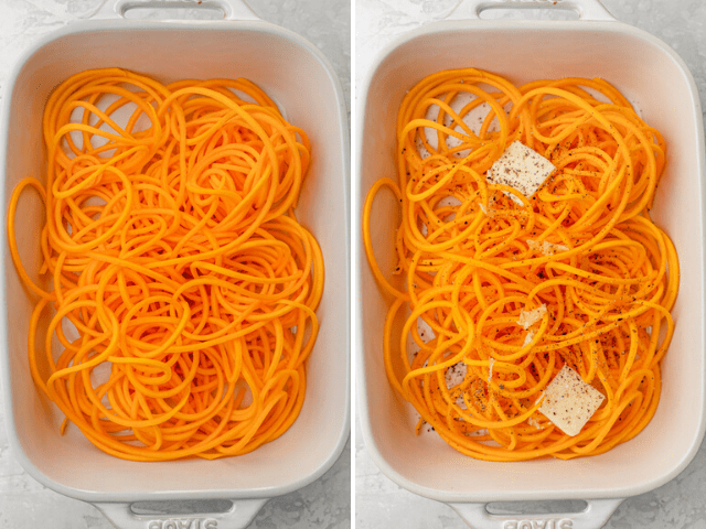 Collage showing the noodles on a baking dish without seasoning and then with seasoning and butter