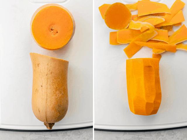 Process shot showing how to cut butternut squash