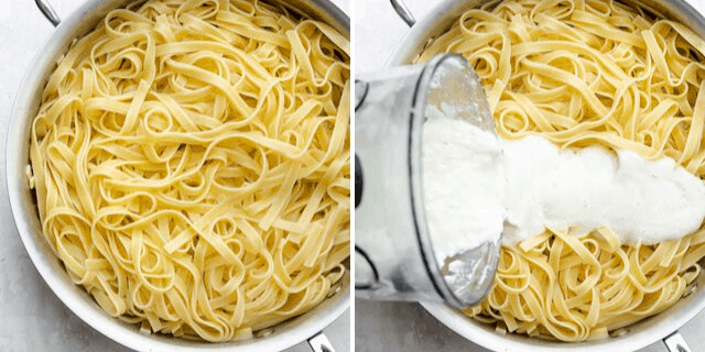 Collage of two images showing the pasta alone and then the sauce getting poured on top