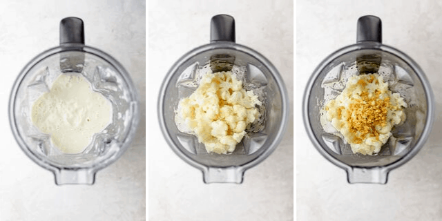 Collage of the top view of the Brandless blender with the ingredients to make the alfredo sauce