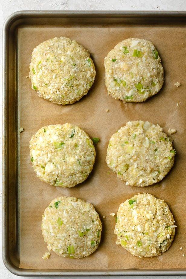 Cauliflower patties shaped before frying