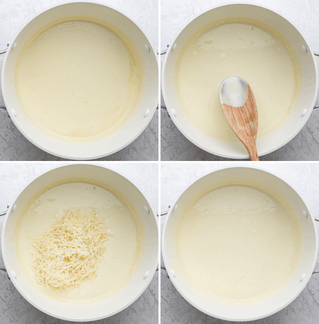 Step-by-step photos showing how to make the sauce