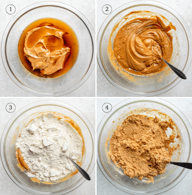 Process shot to show the peanut butter, maple syrup and oat flour getting mixed