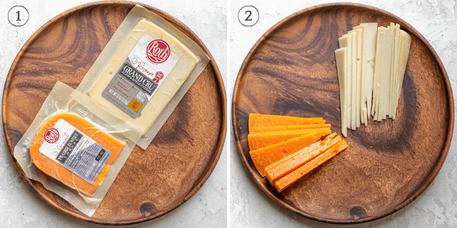 Collage showing the cheese being selected then unwrapped and cut