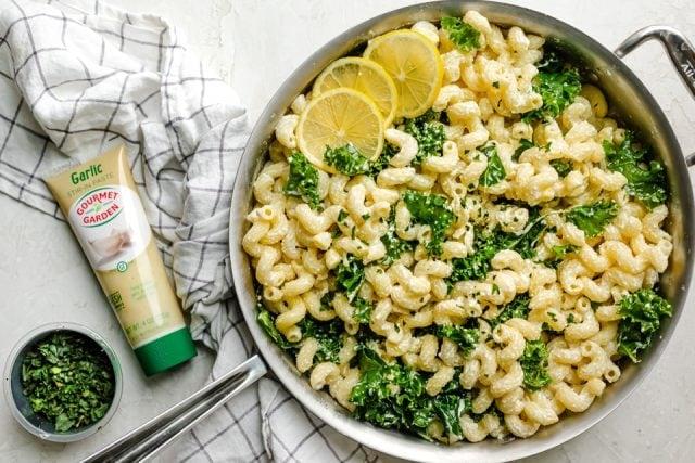 Final lemon ricotta pasta made with Gourmet Garden garlic paste