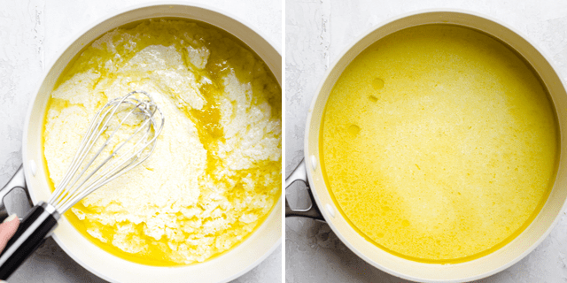 Collage to show how to make the sauce before and after mixing