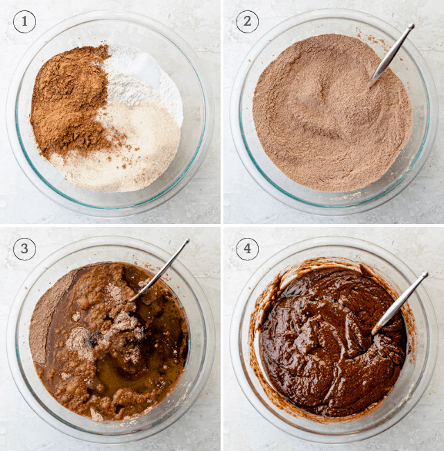 Process shots showing how to make vegan brownies
