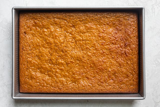 Pumpkin bars after coming out of the oven
