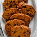 Pumpkin Chocolate Chip Bread after baking, sliced and place in a large dish