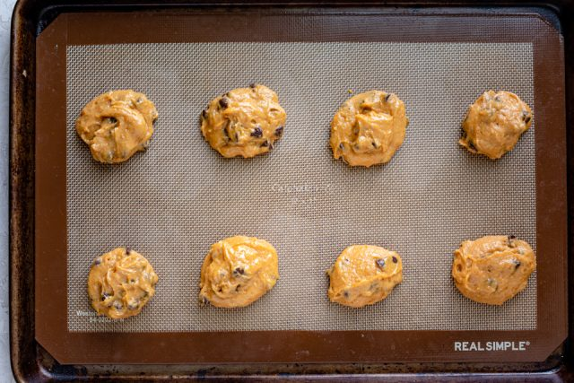 Cookie dough on baking sheet before baking