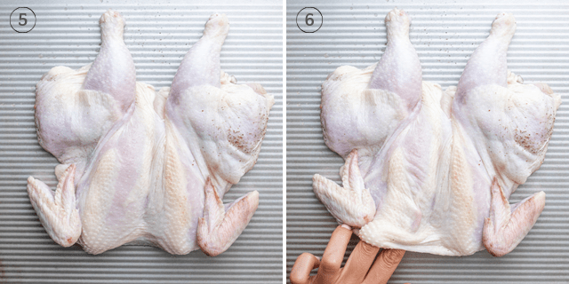 Process shots showing the herbed butter getting stuffed under the skin of the chicken