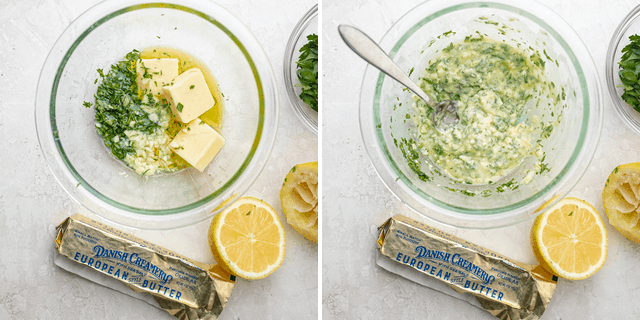 Process shots showing the herbed butter before and after mixing