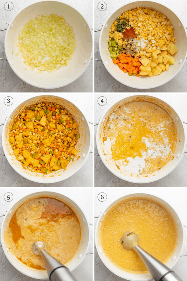 Collage showing how to make vegan corn chowder
