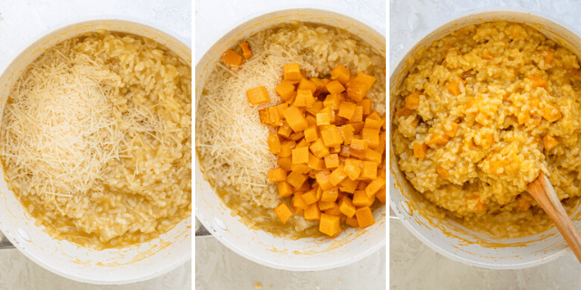 Process shots showing the pot with the risotto and parmesan cheese, then butternut squash added and then everything stirred together