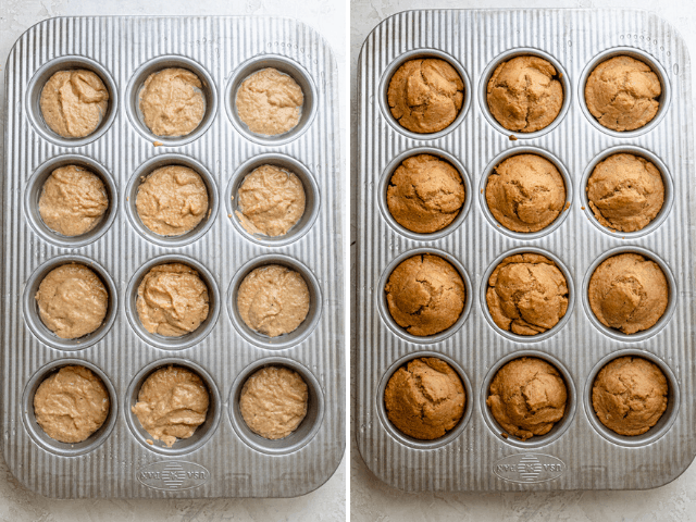 Process shots showing the muffins in a muffin tin before and after baking