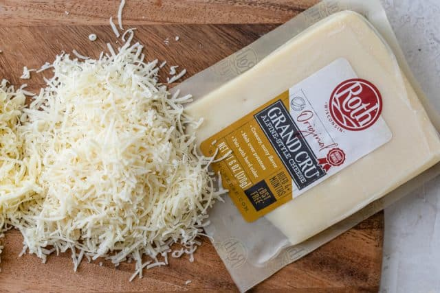 Roth Grand Cru aged cheese in the package and shredded on the side