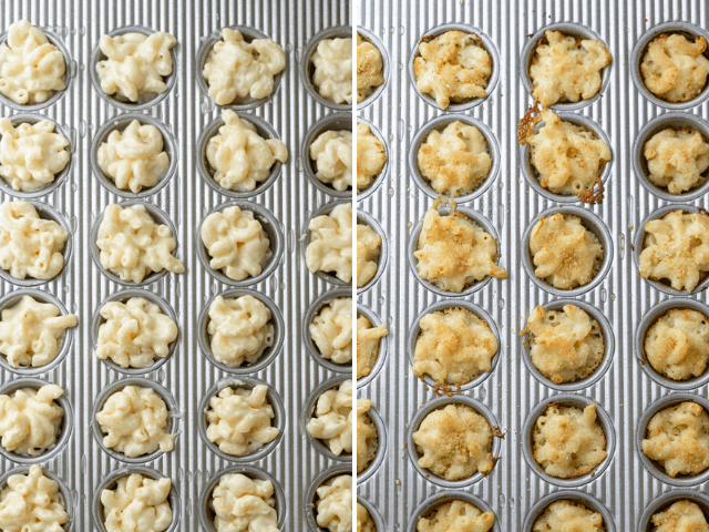 Collage showing the mac and cheese bites before and after baking in the oven