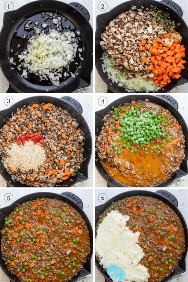 Collage showing process shots for how to make the recipe in a cast iron skillet