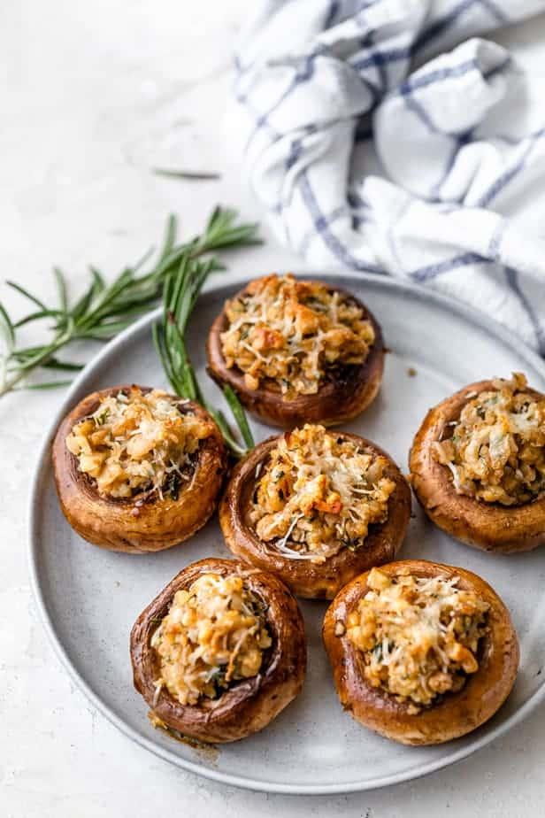 Small round dish of vegetarian stuffed mushrooms
