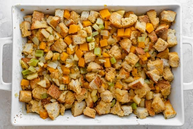 The vegetarian stuffing before being baked