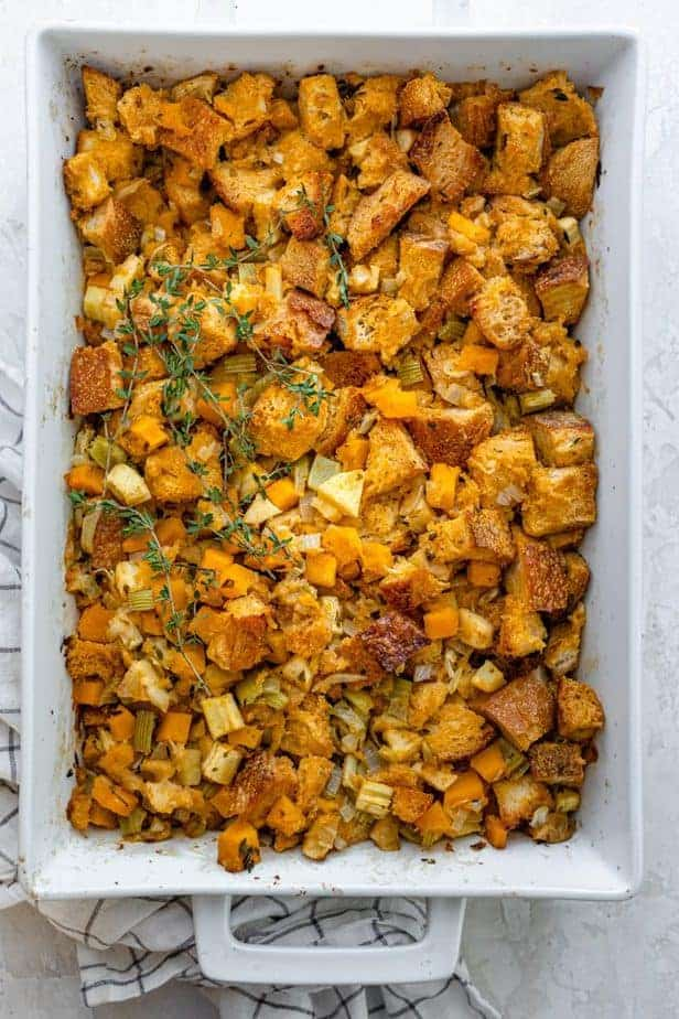 Final vegetarian stuffing in a large casserole dish