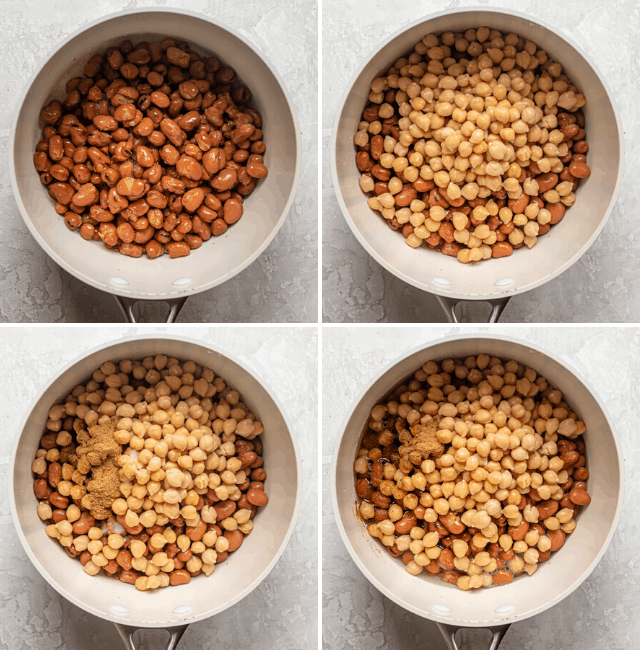 Process shots showing the fava beans in a pot, then adding the chickpeas, spices and water