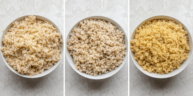 Three photos of three different grains