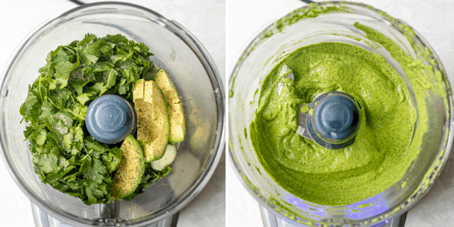 Two photos to show how to make the cilantro dressing