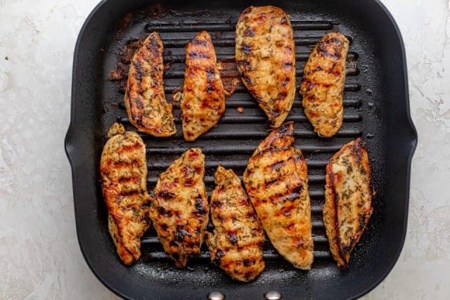 Cooking the chicken on an indoor grill pan