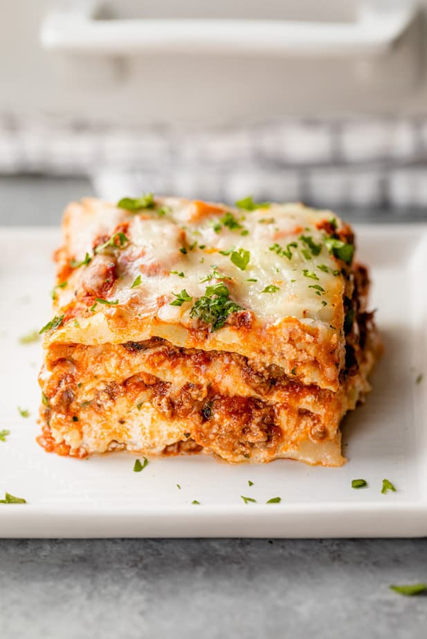 Slice of lasagna on a small plate