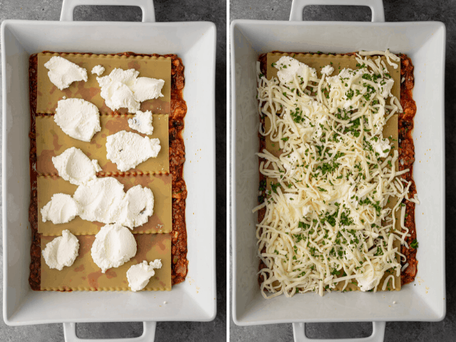 Process shots to show the layering with ricotta cheese and mozzarella cheese