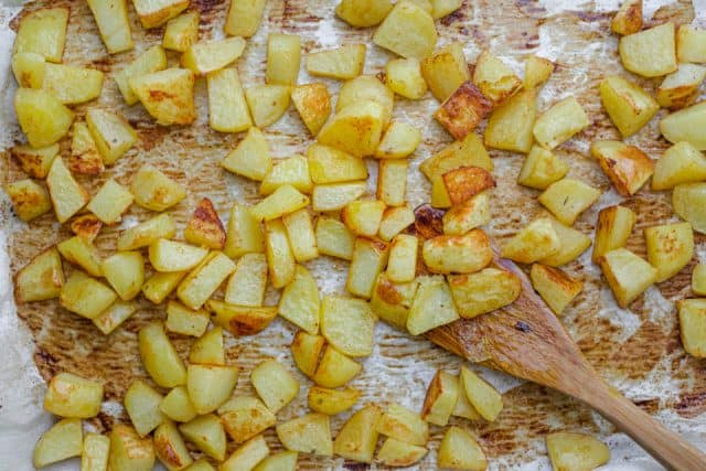 Roasted potatoes after coming out of the oven