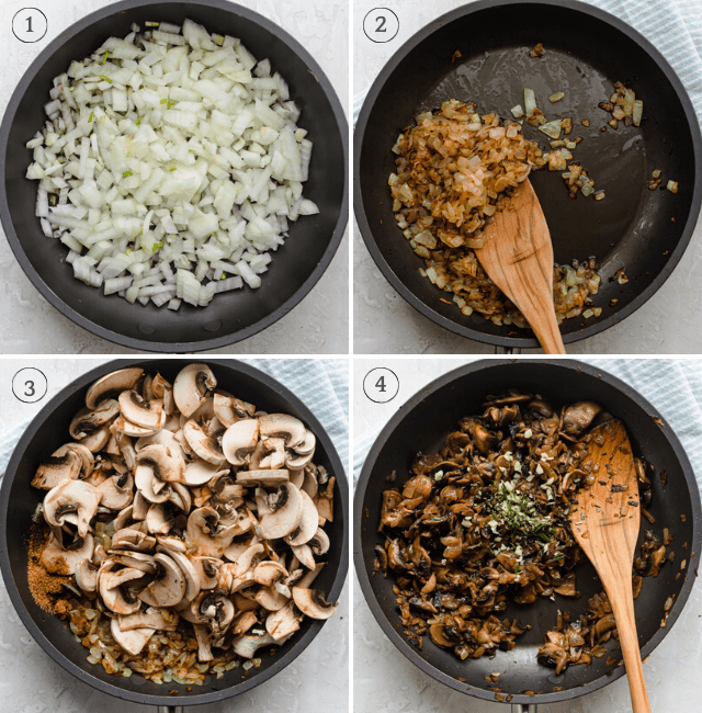 Process shots showing how to caramelize the onions, then cook the mushrooms and herbs on top