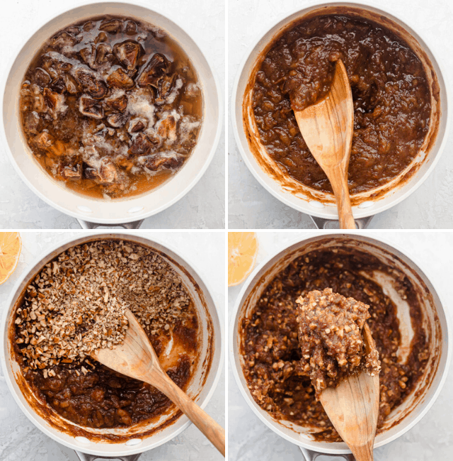 Four process shots to show how to make the date filling